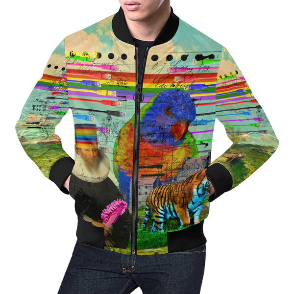 THE BIG PARROT All Over Print Bomber Jacket for Men