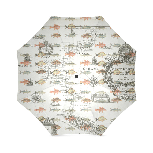 FISH AND A NAUTICAL MAP Foldable Umbrella