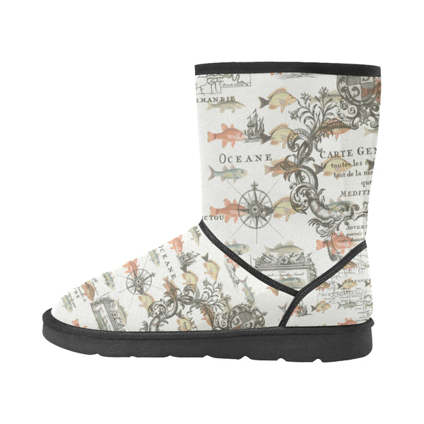 FISH AND A NAUTICAL MAP Unisex All Over Print Snow Boots