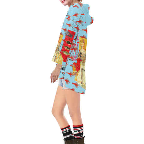THE SHOWY PLANE HUNTER AND FISH IV Unisex Step Hem Tunic Hoodie
