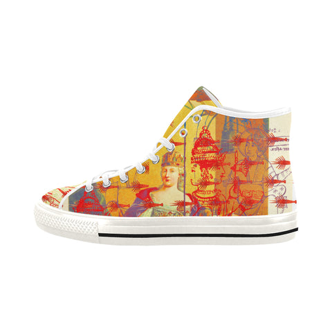 THE ONE BIG QUEEN AND THE MANY LITTLE RED LOBSTERS Men's All Over Print Canvas Sneakers