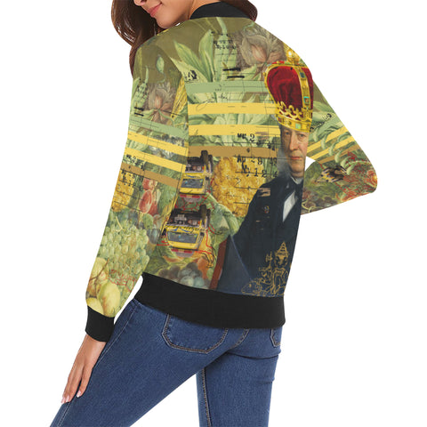THE FOUR CROWNS All Over Print Bomber Jacket for Women