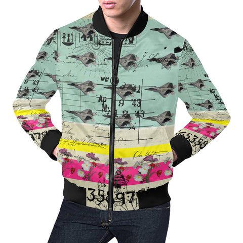 FLOWER POWER II All Over Print Bomber Jacket for Men