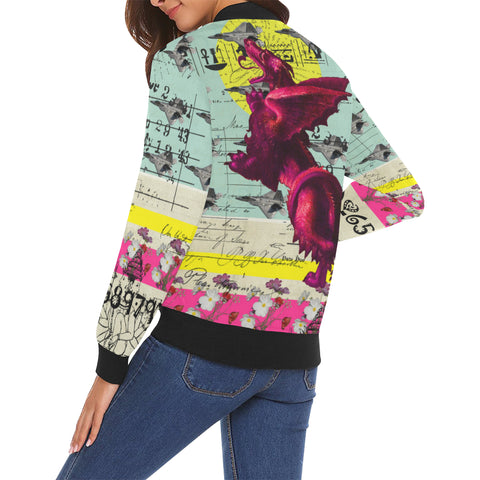 FLOWER POWER II All Over Print Bomber Jacket for Women