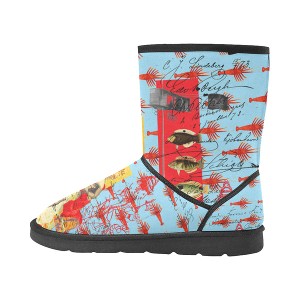 THE SHOWY PLANE HUNTER AND FISH IV Unisex All Over Print Snow Boots