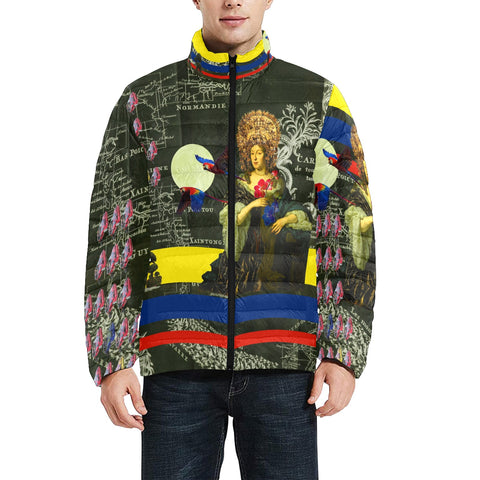 FLOWERS OF THE QUEEN Men's All Over Print Puffer Jacket