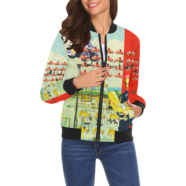 ACCORDING TO PLAN. All Over Print Bomber Jacket for Women