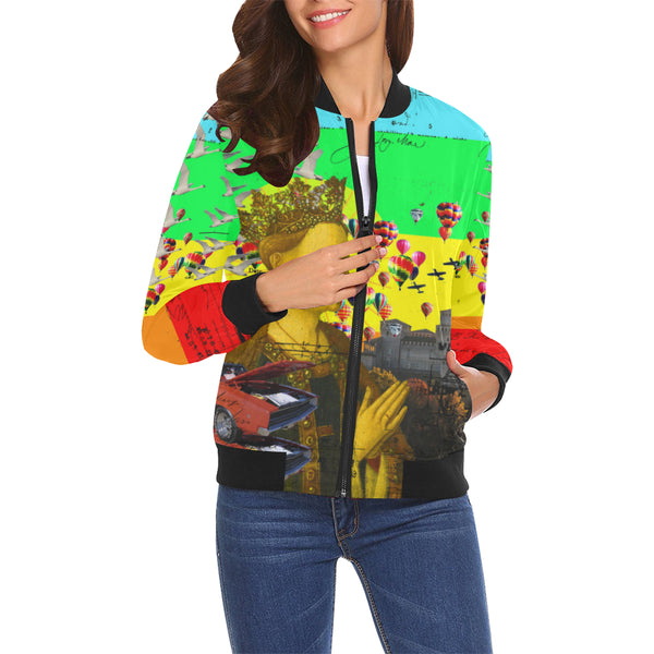 PRAYER All Over Print Bomber Jacket for Women