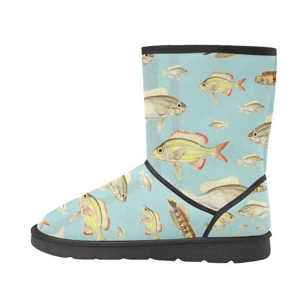 VINTAGE MOTORCYCLES AND COLORFUL FISH... IN THE MOUNTAINS Unisex All Over Print Snow Boots