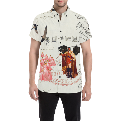 THE KING OF THE FIELD III Men's All Over Print Short Sleeve Button Down Shirt