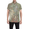 FLOWER PAINTING X MISC. ILLUSTRATIONS Men's All Over Print Short Sleeve Button Down Shirt