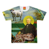 THE SAINT, HIS SNAKE AND HIS COW HAVE COME TO SAVE YOUR SOUL! Women's All Over Print Tee