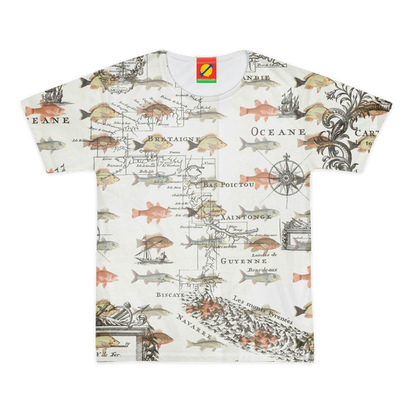 FISH AND A NAUTICAL MAP Women's All Over Print Tee