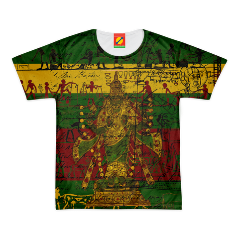 INDIAN GOD IN GREEN  GOLD AND MAROON Men's All Over Print Tee