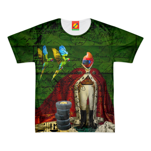THE DISTORTED KING, THE DISTORTED COLORFUL PARROTS AND THEIR DISTORTED TREASURE OF SPARE TIRES II Men's All Over Print Tee