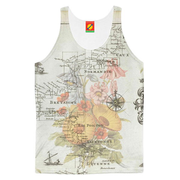 NAUTICAL MAP  SOME FLOWERS AND SOME BIR Women's All Over Print Tank Top