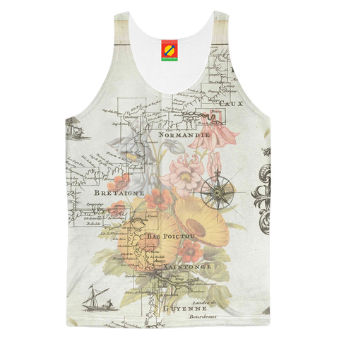 NAUTICAL MAP  SOME FLOWERS AND SOME BIR Men's All Over Print Tank Top