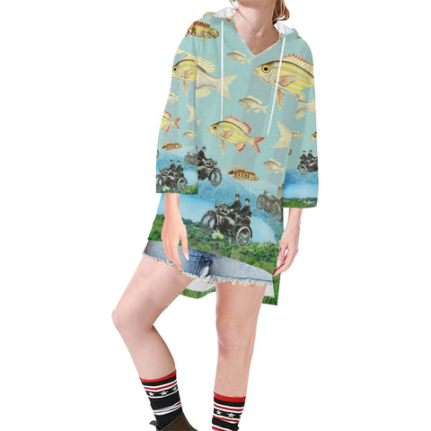 VINTAGE MOTORCYCLES AND COLORFUL FISH... IN THE MOUNTAINS Unisex Step Hem Tunic Hoodie