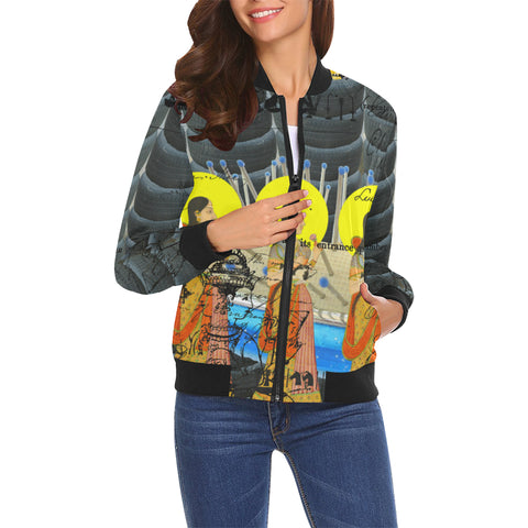 1, 2, 3 V All Over Print Bomber Jacket for Women