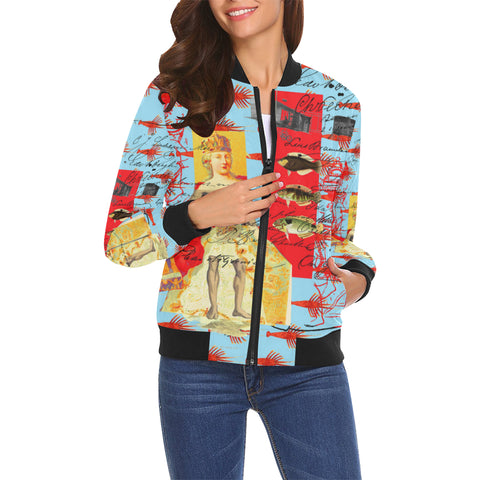 THE SHOWY PLANE HUNTER AND FISH IV All Over Print Bomber Jacket for Women