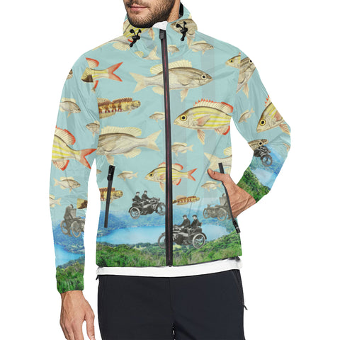 VINTAGE MOTORCYCLES AND COLORFUL FISH... IN THE MOUNTAINS All Over Print Windbreaker for Men