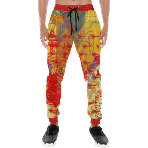 THE ONE BIG QUEEN AND THE MANY LITTLE RED LOBSTERS Men's All Over Print Sweatpants