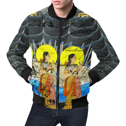 1, 2, 3 V All Over Print Bomber Jacket for Men