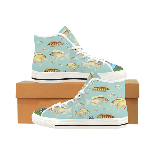 VINTAGE MOTORCYCLES AND COLORFUL FISH... IN THE MOUNTAINS Women's All Over Print Canvas Sneakers