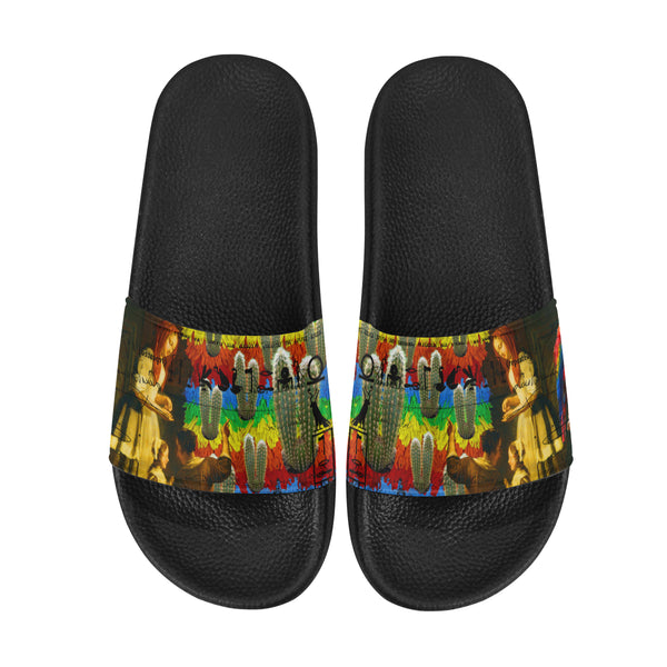 AND THIS, IS THE RAINBOW BRUSH CACTUS. II Women's Printed Slides