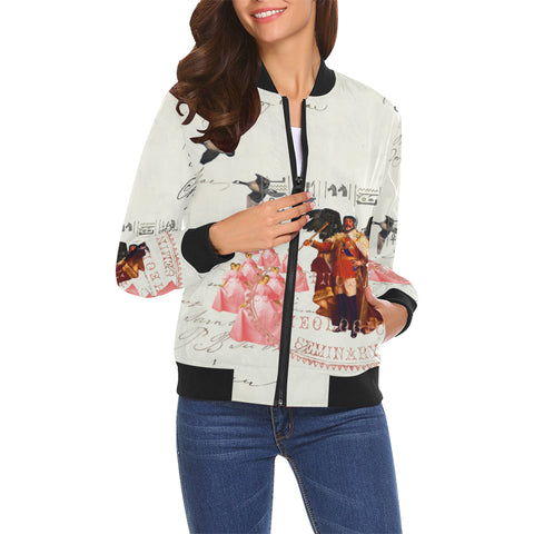 THE KING OF THE FIELD III All Over Print Bomber Jacket for Women