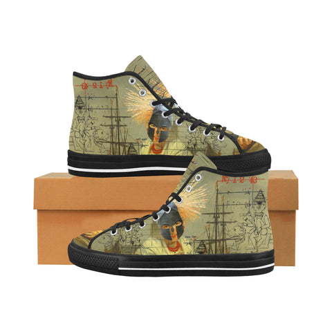 AT THE HARBOUR Men's All Over Print Canvas Sneakers