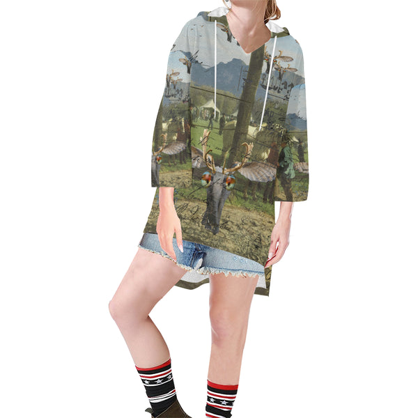 ANIMAL MIX - A SURPRISE AT THE RACES II Unisex Step Hem Tunic Hoodie