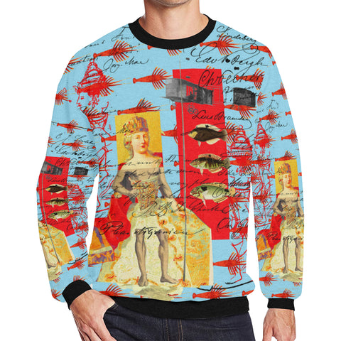 THE SHOWY PLANE HUNTER AND FISH IV Men's Oversized Fleece Sweatshirt