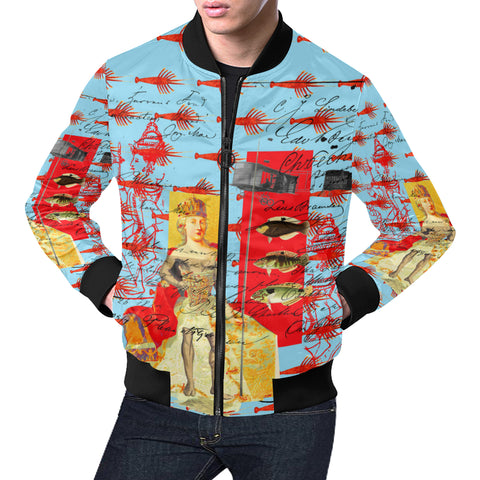 THE SHOWY PLANE HUNTER AND FISH IV All Over Print Bomber Jacket for Men