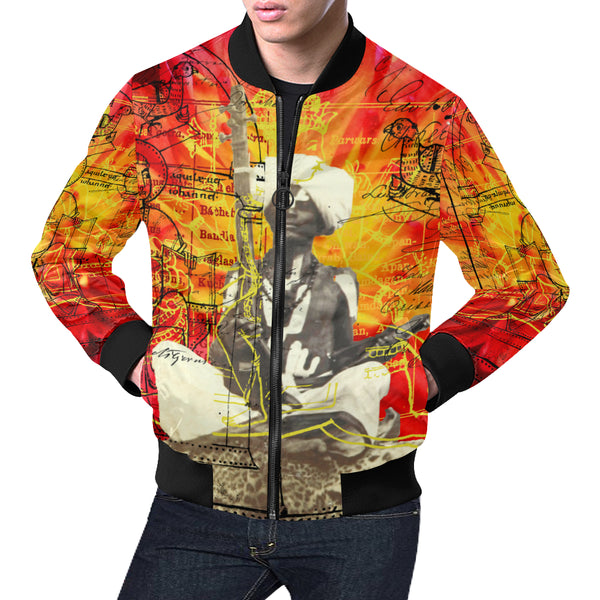 THE SITAR PLAYER All Over Print Bomber Jacket for Men