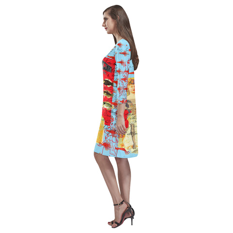 THE SHOWY PLANE HUNTER AND FISH IV Loose Round Neck Dress