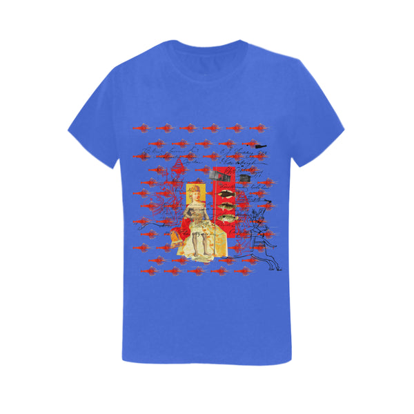 THE SHOWY PLANE HUNTER AND FISH IV Women's Printed Cotton Tee Shirt