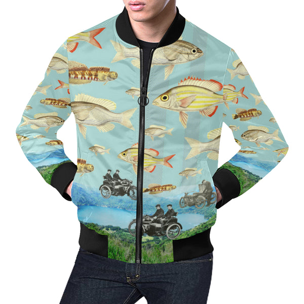 VINTAGE MOTORCYCLES AND COLORFUL FISH... IN THE MOUNTAINS All Over Print Bomber Jacket for Men