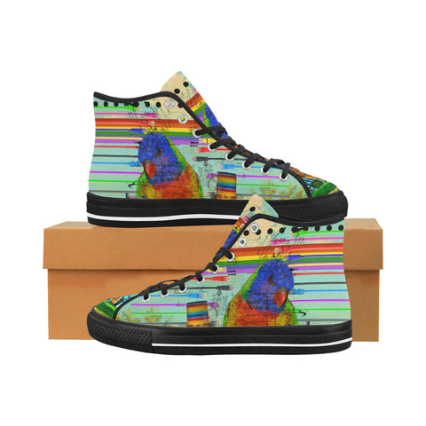 THE BIG PARROT Women's All Over Print Canvas Sneakers