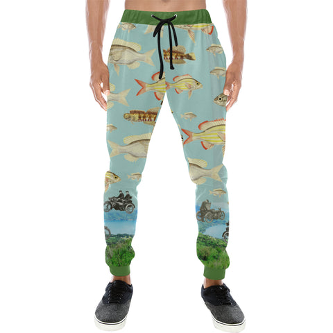VINTAGE MOTORCYCLES AND COLORFUL FISH... IN THE MOUNTAINS Men's All Over Print Sweatpants