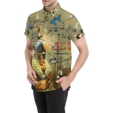 AT THE HARBOUR Men's All Over Print Short Sleeve Button Down Shirt