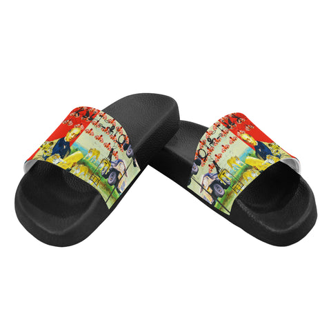 ACCORDING TO PLAN. Women's Printed Slides