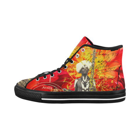 THE SITAR PLAYER Men's All Over Print Canvas Sneakers