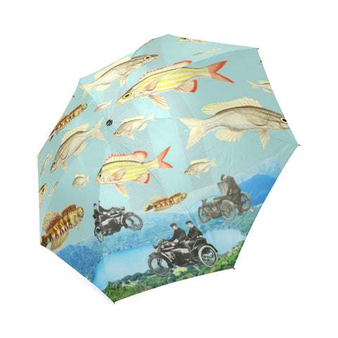 VINTAGE MOTORCYCLES AND COLORFUL FISH... IN THE MOUNTAINS Foldable Umbrella