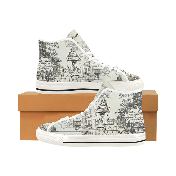 MAP AND SOME ILLUSTRATIONS Women's All Over Print Canvas Sneakers