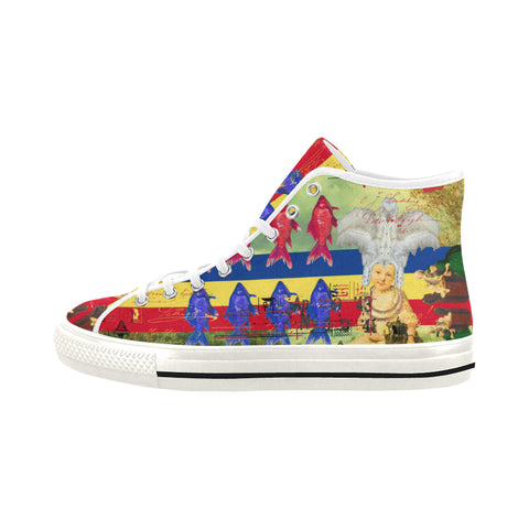 THE WHITE FEATHER HEADDRESS Men's All Over Print Canvas Sneakers