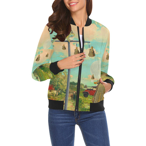 DANDELIONS All Over Print Bomber Jacket for Women