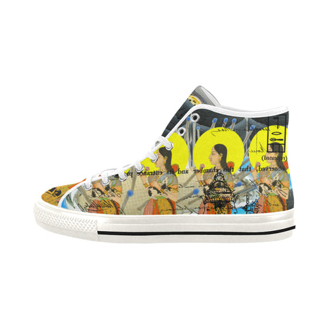 1, 2, 3 V Women's All Over Print Canvas Sneakers