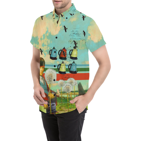 KITCHENWARES AND DANDELIONS Men's All Over Print Short Sleeve Button Down Shirt