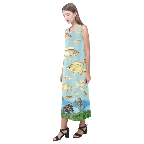 VINTAGE MOTORCYCLES AND COLORFUL FISH... IN THE MOUNTAINS Sleeveless Dress